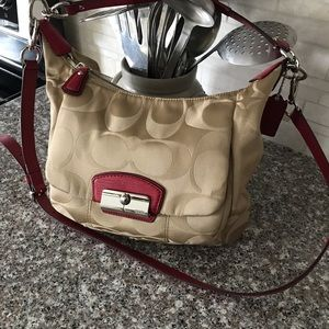 Coach bag, tan with red leather